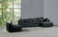 Ъглов диван с фотьойл цвят черно