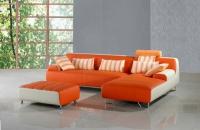 Ъглов диван с табуретка в цвят оранжево
