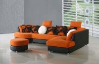 Ъглов диван с табуретка в цвят оранжево и черно