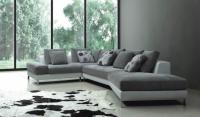 Стилен ъглов диван в сиво и бяло