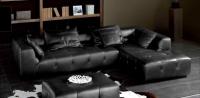 Ъглов кожен диван с табуретка
