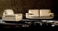 Двоен диван с фотьойл в цвят бяло